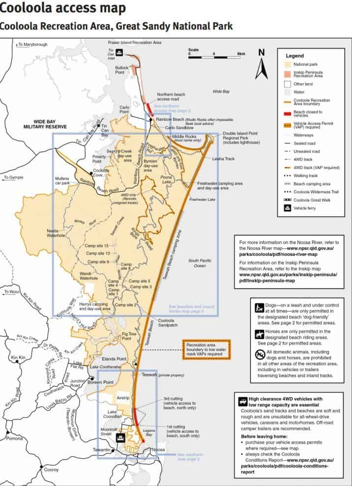 Great Sandy Cooloola Access Map