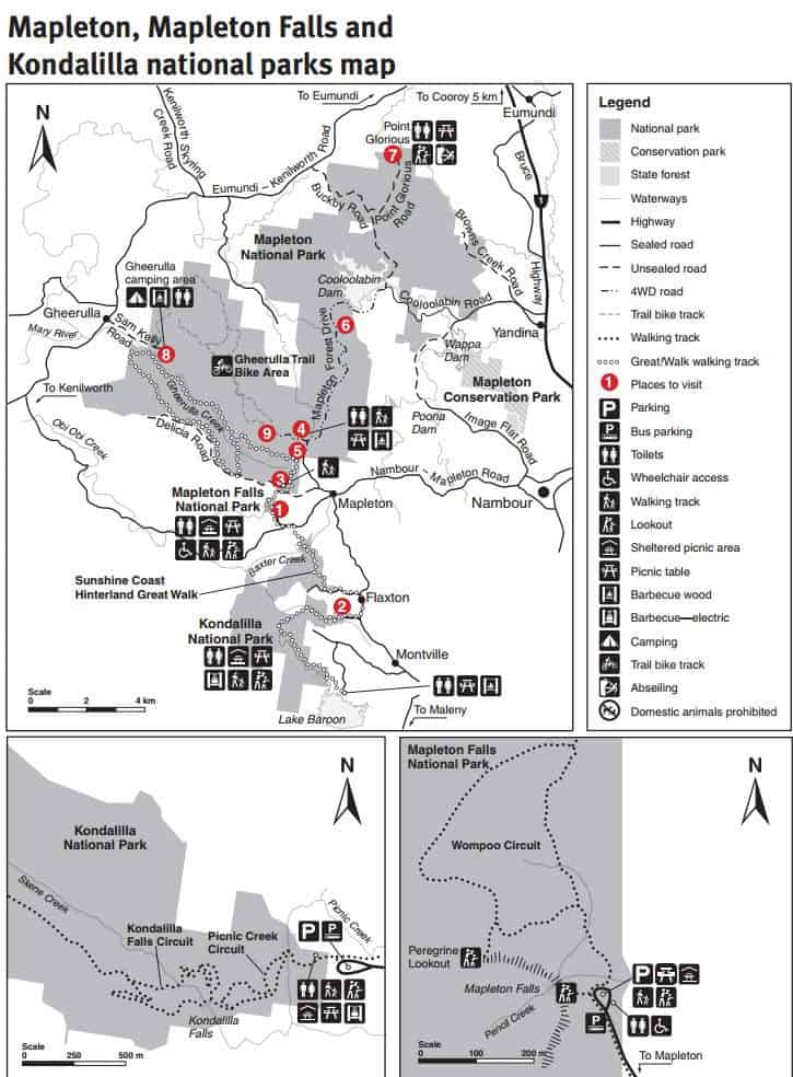 Kondalilla national parks map